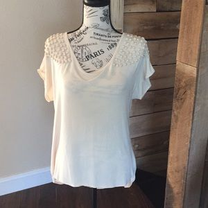 Blouse in off white with matching square beading.